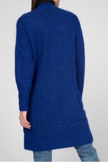 Женский синий шерстяной кардиган 3