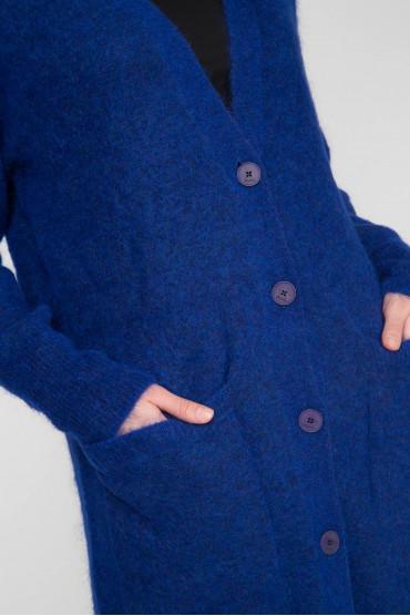 Женский синий шерстяной кардиган 4