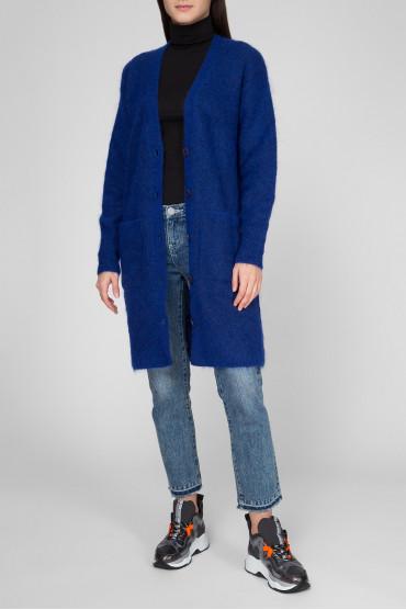 Женский синий шерстяной кардиган 5