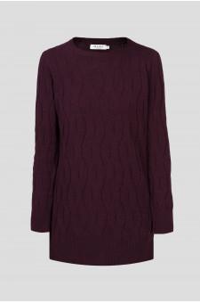 Женский бордовый шерстяной свитер