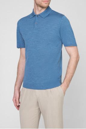 Мужское голубое шерстяное  поло 1