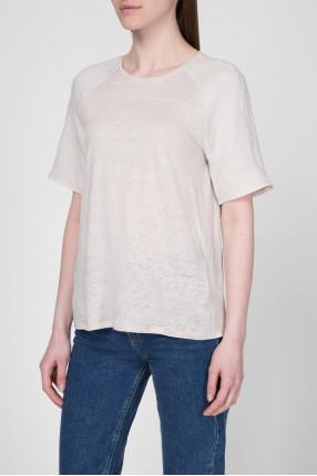 Женская бежевая льняная футболка 1