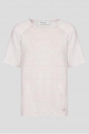 Женская бежевая льняная футболка
