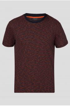 Мужская темно-синяя футболка в полоску