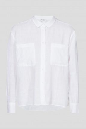 Женская белая льняная рубашка