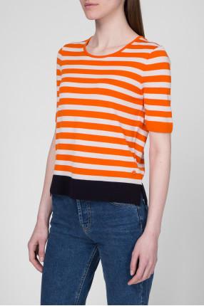 Женская шерстяная футболка в полоску 1