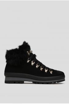 Женские черные замшевые ботинки с мехом