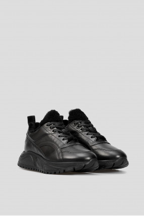 Женские черные кожаные кроссовки  1