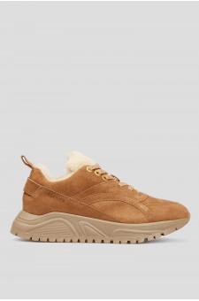 Женские коричневые замшевые кроссовки
