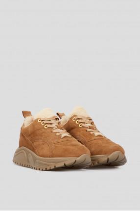 Женские коричневые замшевые кроссовки  1
