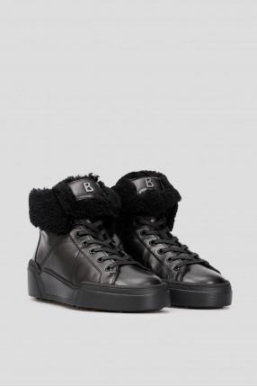 Женские черные кожаные хайтопы  1