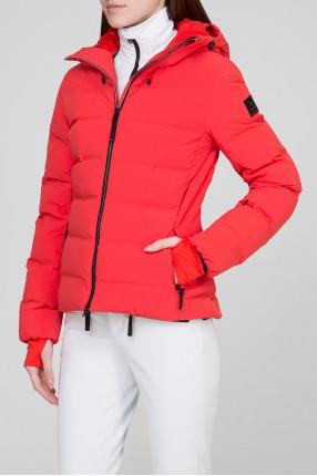 Женский красный лыжный пуховик 1