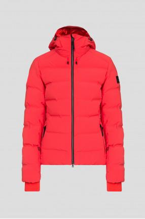 Женский красный лыжный пуховик