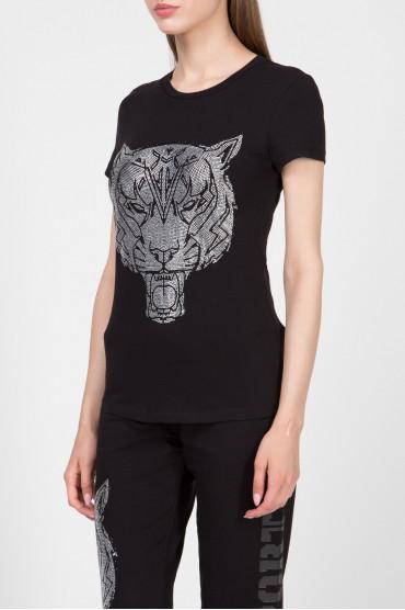 Женская черная футболка 2