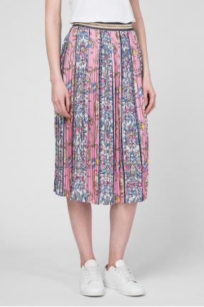 Женская розовая плиссированная юбка 1