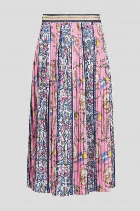 Женская розовая плиссированная юбка