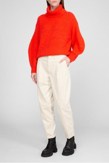 Женские бежевые вельветовые брюки 5