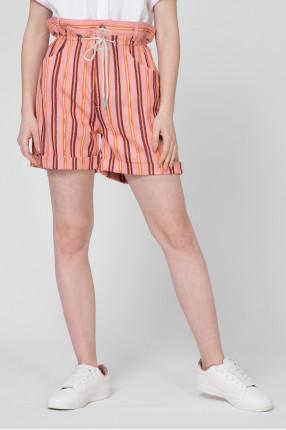 Женские розовые шорты в полоску 1