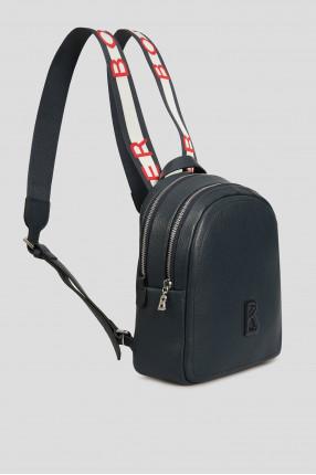 Женский темно-синий кожаный рюкзак  1