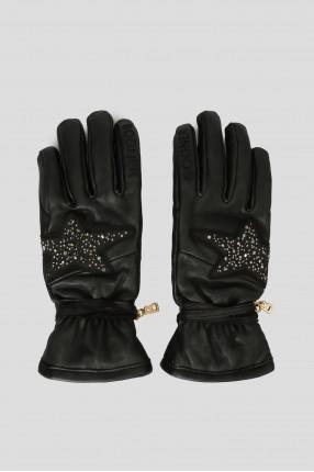 Женские черные кожаные перчатки с кристаллами