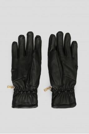 Женские черные кожаные перчатки с кристаллами 1
