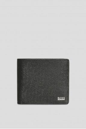 Мужской черный кожаный кошелек