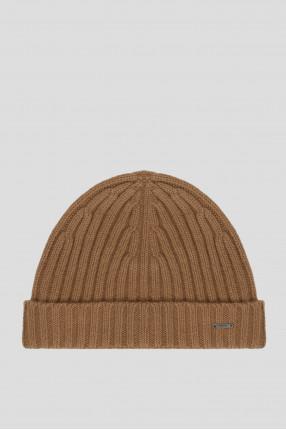 Мужская бежевая кашемировая шапка