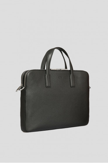 Мужской черный кожаный портфель 2