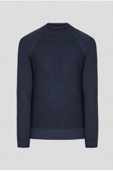 Мужской синий шерстяной свитер