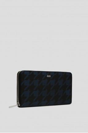 Мужской синий кожаный кошелек 1