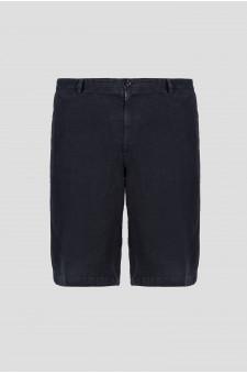 Мужские черные льняные шорты
