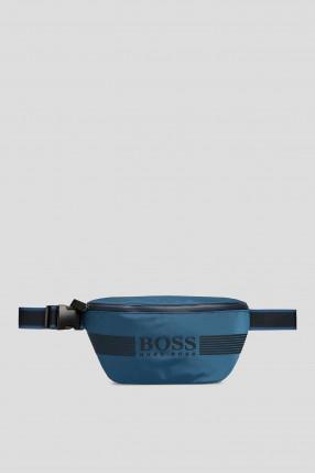 Мужская синяя поясная сумка
