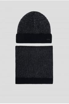 Мужской синий комплект аксессуаров (шапка, шарф)