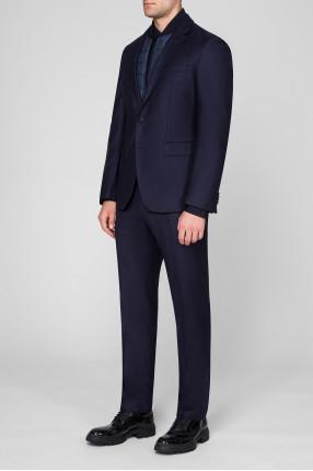 Мужской темно-синий шерстяной костюм (пиджак, брюки) 1