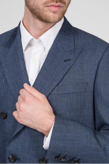 Мужской синий костюм (пиджак, брюки) 4
