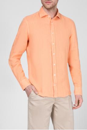 Мужская оранжевая льняная рубашка 1