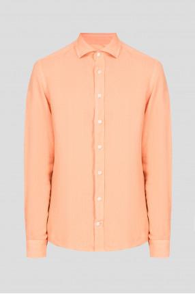 Мужская оранжевая льняная рубашка