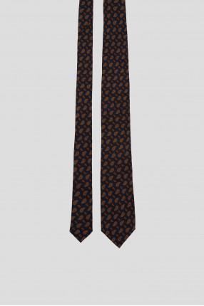 Мужской синий шерстяной галстук с узором 1