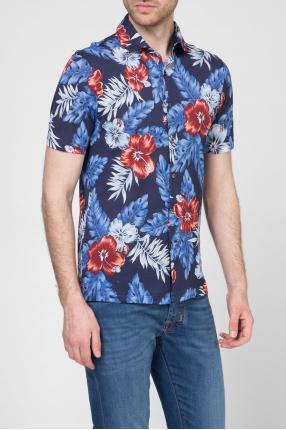 Мужская синяя рубашка с принтом 1