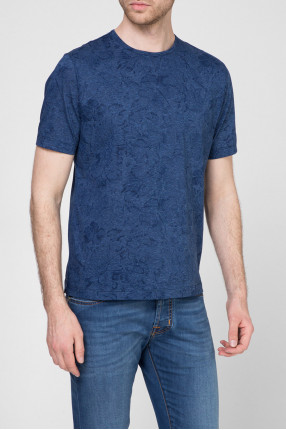 Мужская синяя футболка с принтом 1