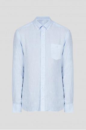 Мужская голубая льняная рубашка