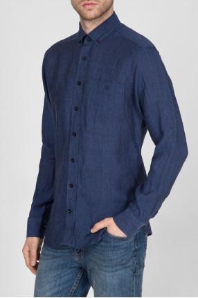 Мужская темно-синяя льняная рубашка 1