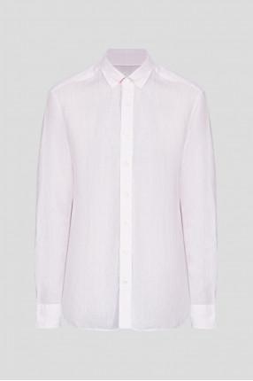 Мужская розовая льняная рубашка