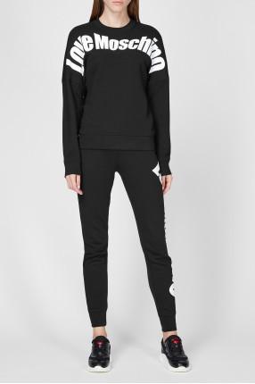 Женский черный спортивный костюм (свитшот, брюки) 1