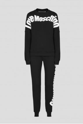 Женский черный спортивный костюм (свитшот, брюки)