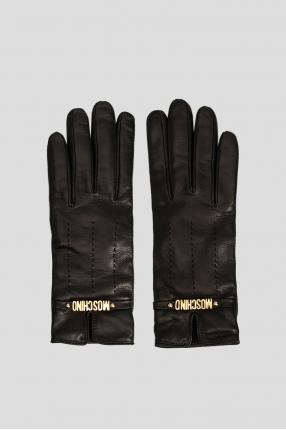 Женские черные кожаные перчатки