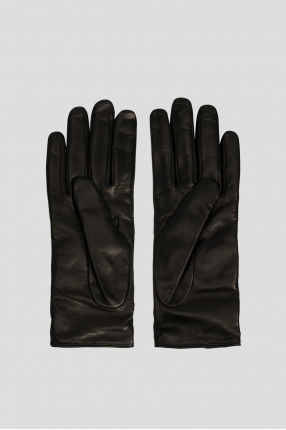 Женские черные кожаные перчатки 1