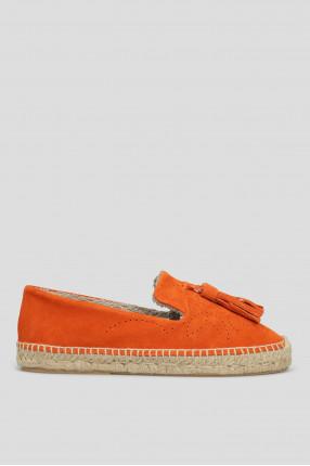 Женские оранжевые замшевые эспадрильи