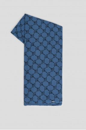 Мужской синий шарф с узором