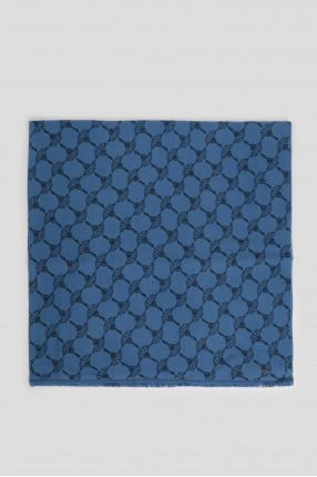 Мужской синий шарф с узором 1
